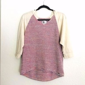 🍍 Volcom Purple Colorful Cream Knit Sweater Hood